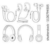 outline earphones  wireless and ...   Shutterstock .eps vector #1130794505