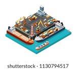 isometric 3d seaport terminal... | Shutterstock .eps vector #1130794517