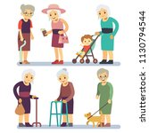 old women cartoon character set.... | Shutterstock .eps vector #1130794544
