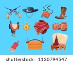 western cartoon elements. wild... | Shutterstock .eps vector #1130794547