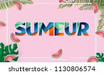 summer sale banner vector... | Shutterstock .eps vector #1130806574