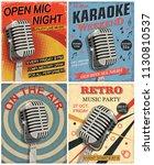 set of vintage mic posters. | Shutterstock .eps vector #1130810537