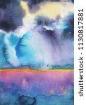 watercolor landscape sky clouds | Shutterstock . vector #1130817881