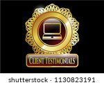gold shiny badge with laptop... | Shutterstock .eps vector #1130823191