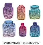 hand drawn floral jars with...   Shutterstock .eps vector #1130829947