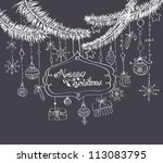 christmas background with cute... | Shutterstock .eps vector #113083795