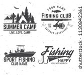 set of fishing sport club bages.... | Shutterstock .eps vector #1130842361