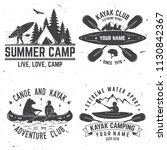 Set of kayak club badges. Vector illustration. Concept for shirt or logo, print, stamp or tee. Vintage typography design with canoe, paddle, camping tent and forest silhouette.