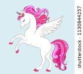 white girl unicorn with pink... | Shutterstock .eps vector #1130844257