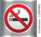 no smoking symbol on a chromium ... | Shutterstock .eps vector #113084881