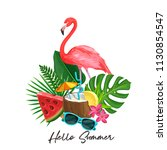 vector summer tropical banner.... | Shutterstock .eps vector #1130854547