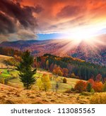 Colorful Autumn Sunset In The...