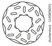 line art black and white donut. ...   Shutterstock . vector #1130858351