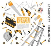 yellow house repair tools and... | Shutterstock .eps vector #1130859839