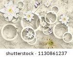3d rings and flowers wallpaper | Shutterstock . vector #1130861237