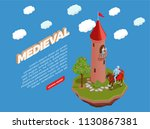 medieval isometric composition... | Shutterstock .eps vector #1130867381