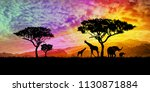 illustration of a bright sunset ... | Shutterstock . vector #1130871884