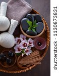 spa setting with hibiscus... | Shutterstock . vector #1130873831