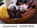 spa setting with hibiscus... | Shutterstock . vector #1130873834