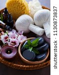 spa setting with hibiscus... | Shutterstock . vector #1130873837