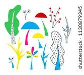 forest clipart elements. cutout ...   Shutterstock . vector #1130879345