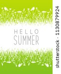 green summer meadow with grass... | Shutterstock .eps vector #1130879924