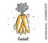 carrot set in doodle style. raw ... | Shutterstock .eps vector #1130881229