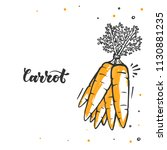 carrot in doodle style. raw... | Shutterstock .eps vector #1130881235