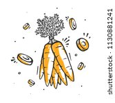 carrot in doodle style. organic ... | Shutterstock .eps vector #1130881241