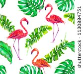 tropical floral summer seamless ... | Shutterstock . vector #1130884751