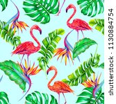 tropical trendy summer seamless ... | Shutterstock . vector #1130884754