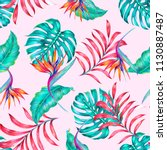 tropical seamless pattern... | Shutterstock . vector #1130887487