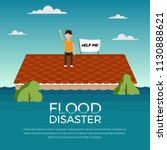 flood disaster with human and... | Shutterstock .eps vector #1130888621