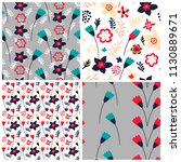 set of 4 floral seamless... | Shutterstock .eps vector #1130889671