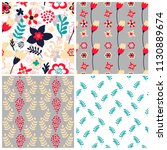 set of 4 floral seamless... | Shutterstock .eps vector #1130889674