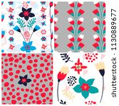 set of 4 floral seamless... | Shutterstock .eps vector #1130889677
