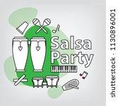 salsa party logo concept.... | Shutterstock .eps vector #1130896001