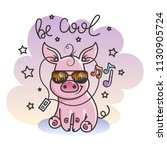 cute cartoon baby pig in a cool ... | Shutterstock . vector #1130905724