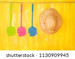 fly flaps and a straw hat ... | Shutterstock . vector #1130909945