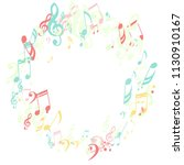 wreath of musical symbols.... | Shutterstock .eps vector #1130910167