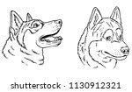 husky  head outline   Shutterstock .eps vector #1130912321