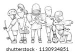 cartoon sports characters group.... | Shutterstock .eps vector #1130934851
