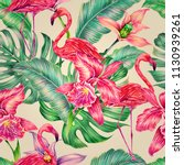 tropical seamless pattern... | Shutterstock . vector #1130939261