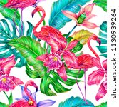 tropical trendy summer seamless ... | Shutterstock . vector #1130939264