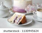 birthday cream bule berries...   Shutterstock . vector #1130945624