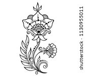 mehndi flower pattern for henna ... | Shutterstock .eps vector #1130955011
