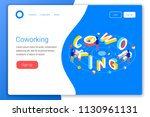 coworking design concept.... | Shutterstock .eps vector #1130961131
