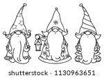 vector  christmas gnomes... | Shutterstock .eps vector #1130963651