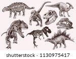 retro set of dinosaurs for... | Shutterstock .eps vector #1130975417