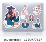 sticker set with cute girl and... | Shutterstock .eps vector #1130977817